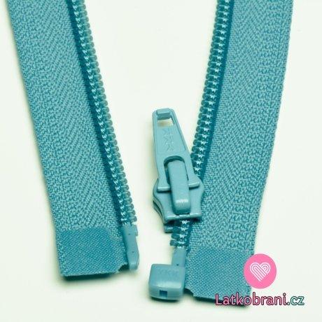 Zip spirálový dělitelný nebesky modrý 40cm
