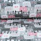 Teplákovina kočky šedé, růžové v řadě ZBYTEK
