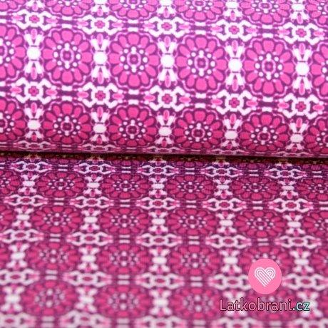 Úplet kytičky ornamenty fialovo-růžové
