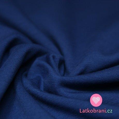 Jednobarevný úplet jeansový tmavý 200gr