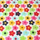 Bavlněný úplet barevné květiny na bílé