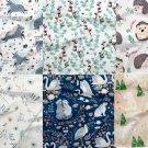 Teplákovina větvičky modré a bavlny na smetanové