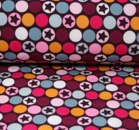 Softshell hvězdy v barevném kruhu růžové, fialové s fleecem