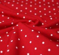Teplákovina bílé puntíky na červené