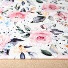 Teplákovina květy ve starorůžovém odstínu na smetanové 2. JAKOST
