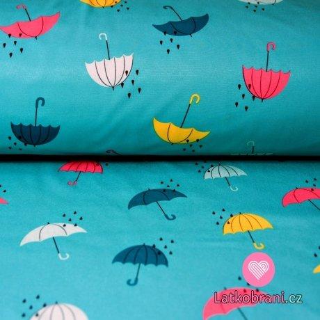 Softshell barevné deštníky na světle petrolejové