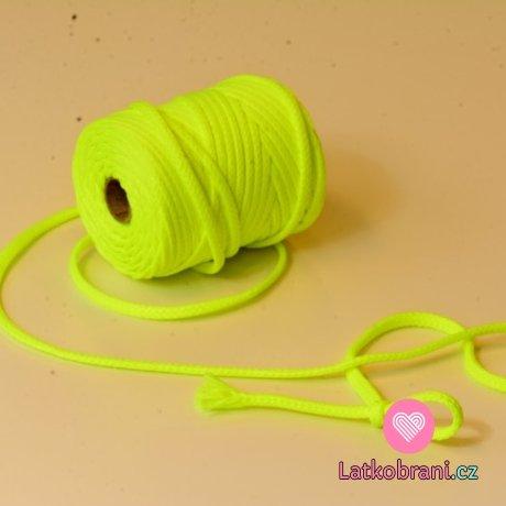 Šňůra kulatá oděvní PES 7 mm neonově žlutá