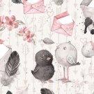 Teplákovina potisk zamilovaní ptáčci s dopisní obálkou