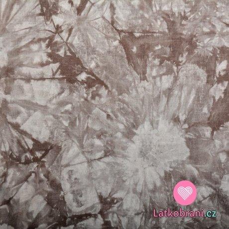 Viskóza s příměsí lnu batika šedá béžová