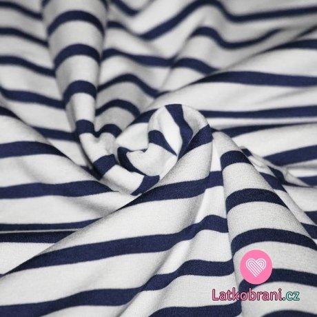 Viskózový úplet proužky námořnická modrá - bílá