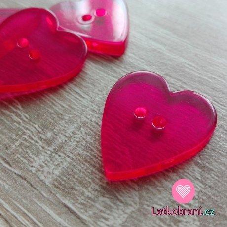 Knoflík srdíčko hladké, průhledné růžové