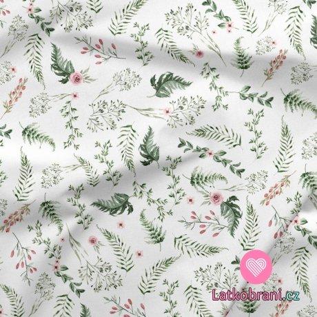 Teplákovina potisk mini šípková růže s listy na bílé