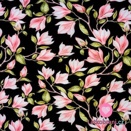 Teplákovina potisk magnolie na černé