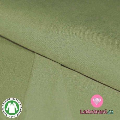 Teplákovina počesaná světlá khaki zelená, BIO