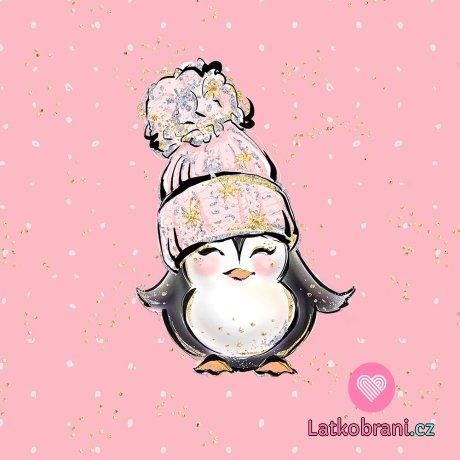 Panel tučňák v kulíšku na růžové