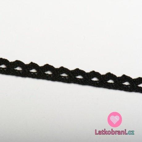 Krajka paličkovaná 8 mm černá