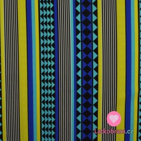 Plavkovina (lycra) modro žluté geometrické tvary