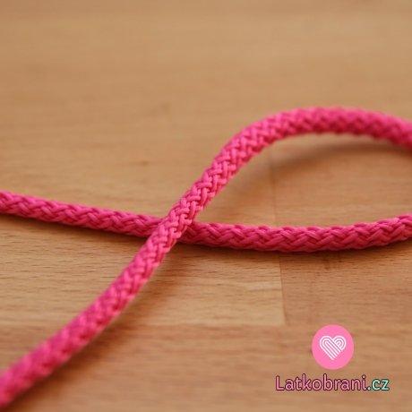 Šňůra kulatá oděvní PES 4 mm růžová pink