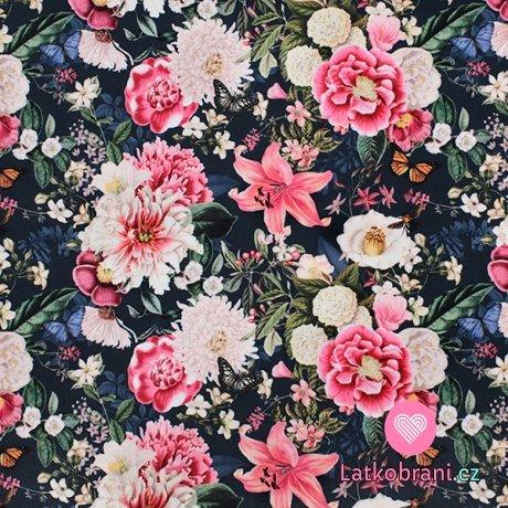 Teplákovina potisk barevné květiny na černé