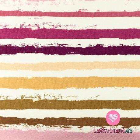 Úplet potisk malované proužky do růžova na bílé