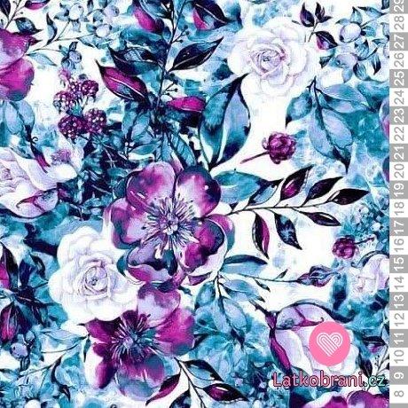 Teplákovina potisk modro- fialové květiny na bílé