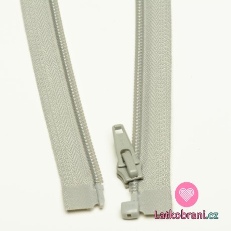 Zip spirálový dělitelný šedo-béžový 60cm