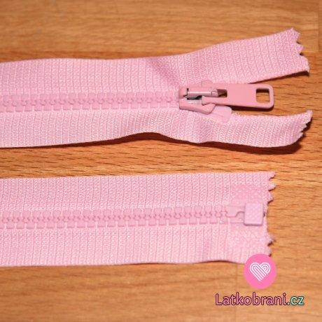 Zip kostěný dělitelný 60cm růžová dětská světlejší