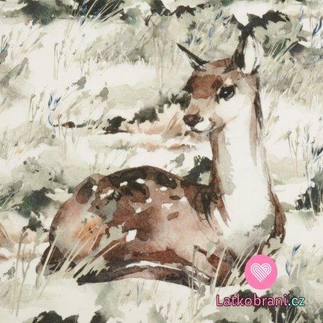 Bavlněný panel srna v lese