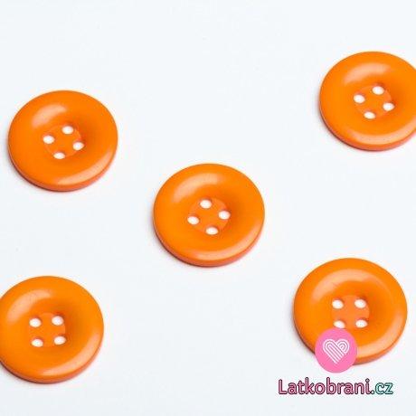 Knoflík hladký lesklý oranžový 24mm