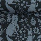 Teplákovina potisk modrá lesní zvířátka na tmavě modré