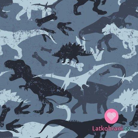 Teplákovina počesaná potisk dinosauři na jeansově modré