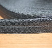 Šikmý proužek / lemovací pruženka šedá tmavá 19mm
