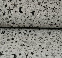 Teplákovina noční obloha, hvězdy na šedém melé