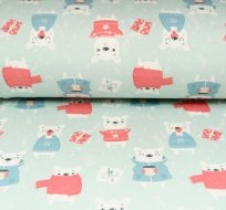 Teplákovina medvěd ve svetru s dárky na modroučké