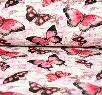 Teplákovina růžový motýl s textem