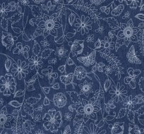 Jeans/Denim květy a motýlky na jeansově modré