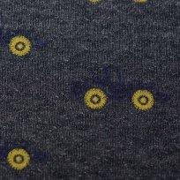 Prošívaná teplákovina tmavě modré bagříky se žlutýmy koly na tmavě modré melé