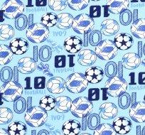 Bavlněný úplet fotbal na modré