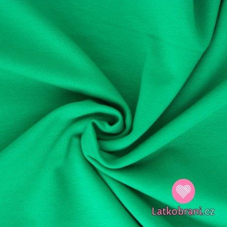 Jednobarevná teplákovina zelená tráva
