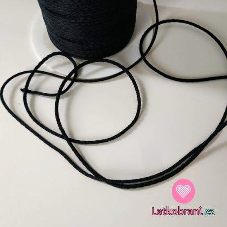 Šňůra kulatá oděvní PES 3 mm černá
