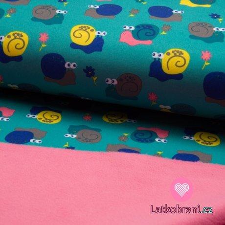Softshell barevní šneci na mintově modré s fleecem