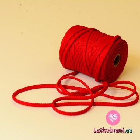 Šňůra kulatá oděvní PES 7 mm červená tomato