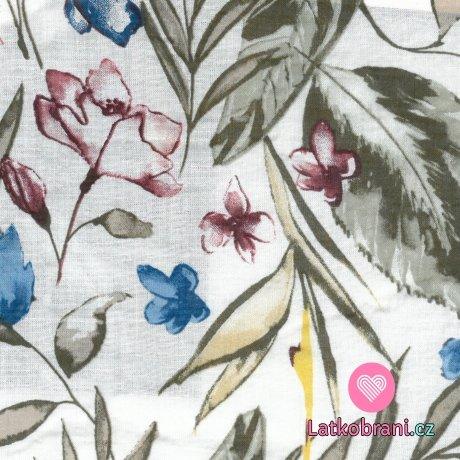 Bavlněná látka s příměsí viskózy malovaná kvítka s listy