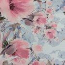 Softshell potisk malované růžové květy na šedomodré