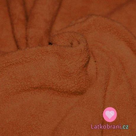 Bavlněný fleece jantarově hnědý