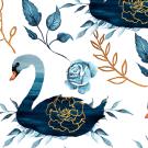 Teplákovina potisk vznešené labutě plující v modrém jezeře