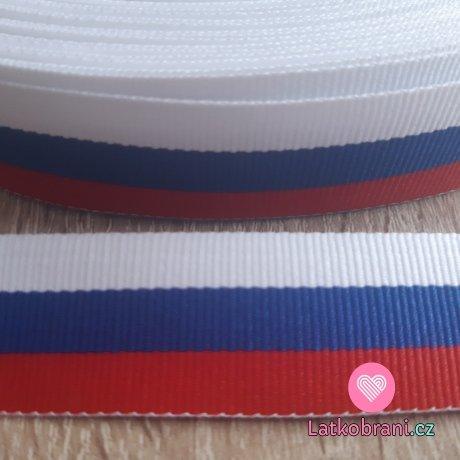 Stuha v barvě české trikolóry 25 mm