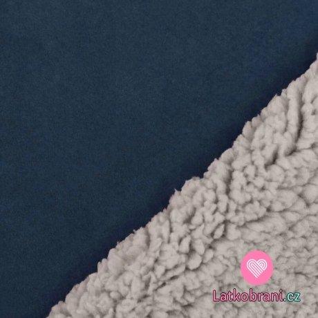Umělá kožešina / imitace ovčího rouna (sherpa) jeansově modrá