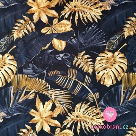 Teplákovina potisk zlaté listy na černé