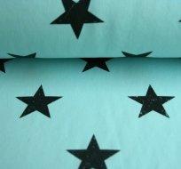 Teplákovina hvězdy tmavé na tyrkysovo-mintové